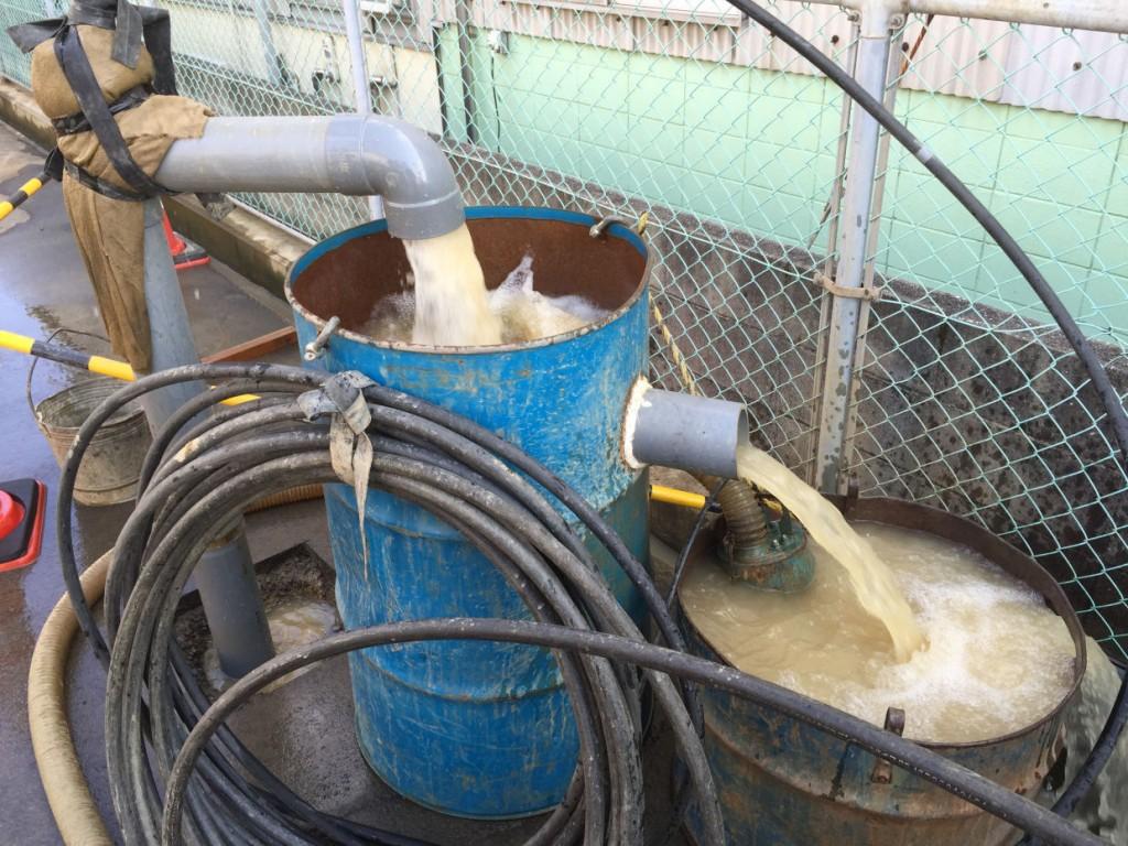 ボーリング井戸 エアーリフト洗浄 東温市南方