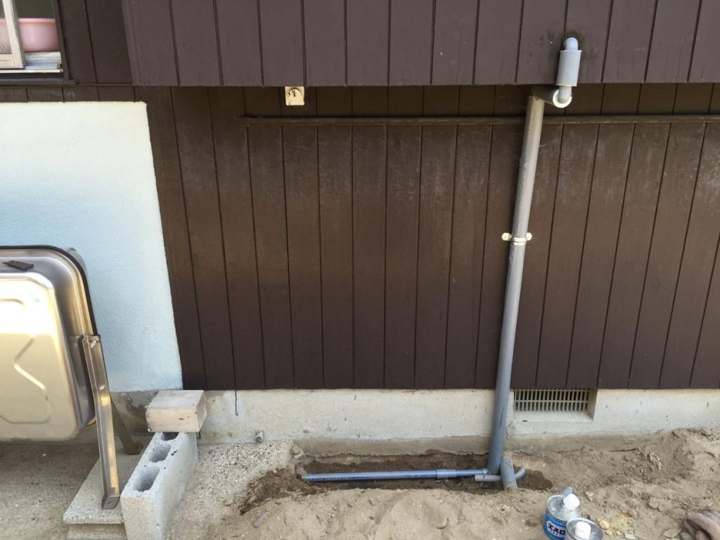 詰まった配管の改修工事