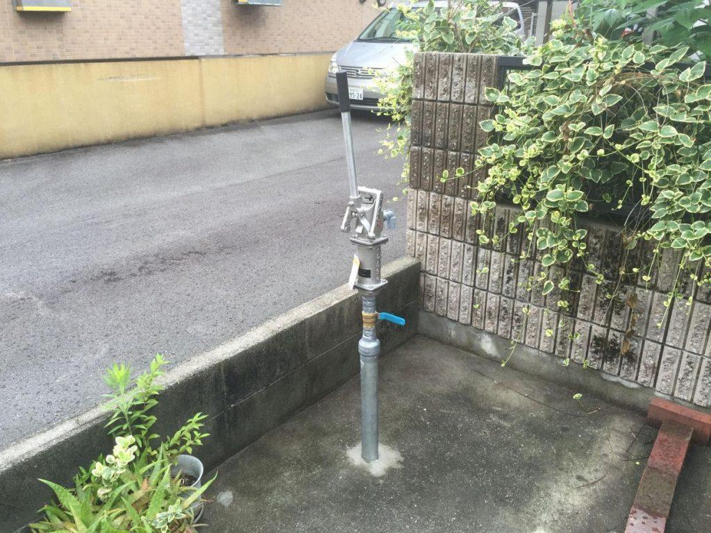 松山市三番町 手押しポンプ設置