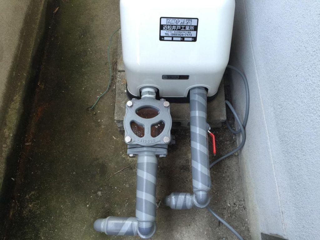 動作が不安定な井水ポンプの取替工事(松山市南高井町)