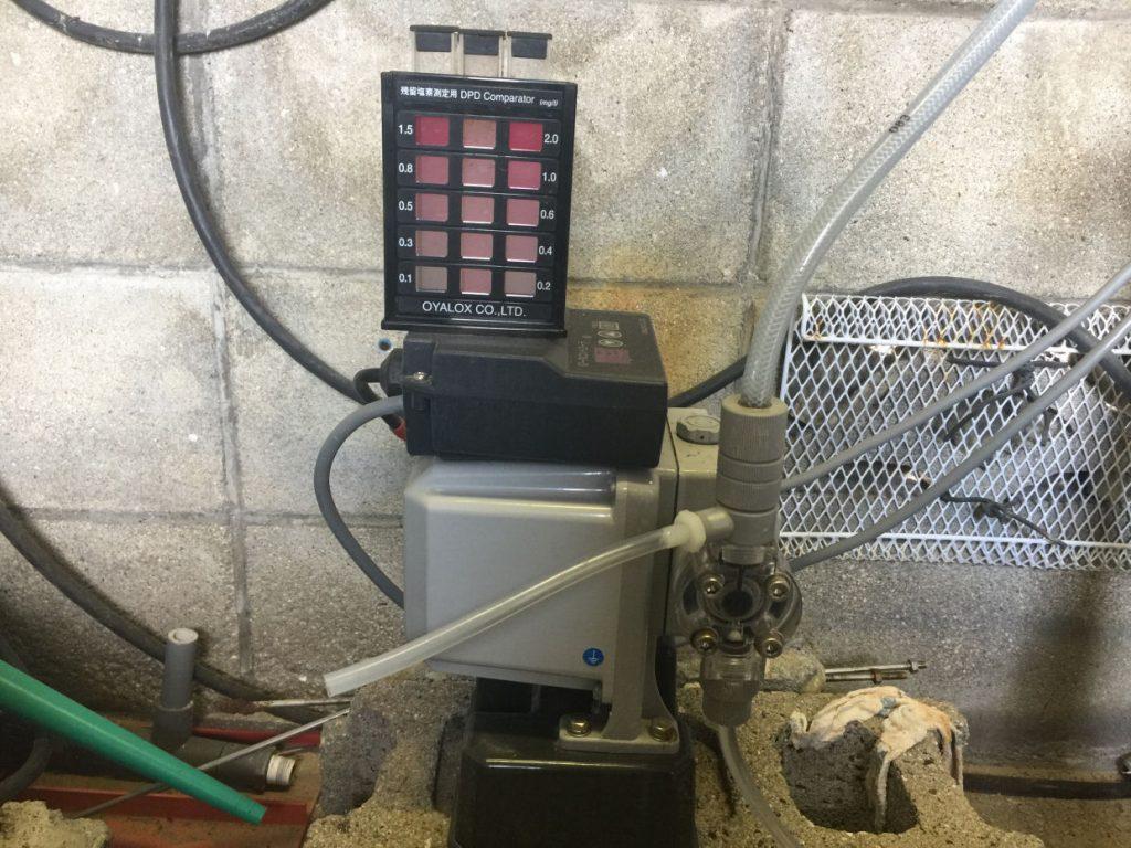 除菌器の点検と、残留塩素濃度チェック