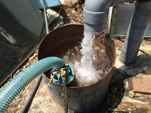 洗浄して綺麗になった井戸水