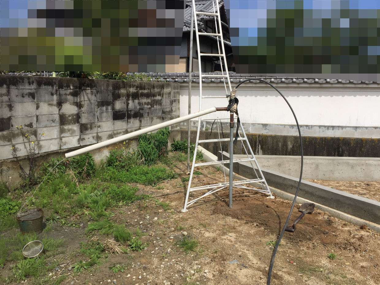 基礎工事前に打抜き井戸新設工事(松山市太山寺町)