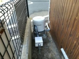 新しい井戸に既存ポンプの移設工事(松山市永代町)