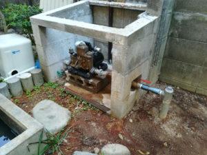 水の出が悪くなったため、打抜き井戸の新設(松山市山越)