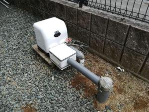 経年劣化で錆びたポンプの取替工事(松山市森松町)