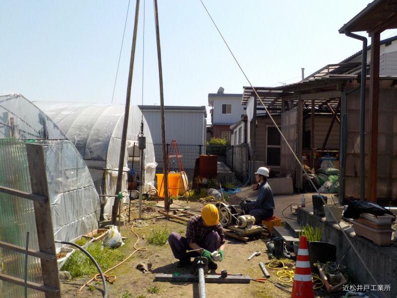 伊予郡松前町のいちご農家さん。潅水時間の短縮のため打抜き井戸を再設置。