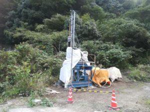 山間部で事業用井戸の掘削(東温市山之内)