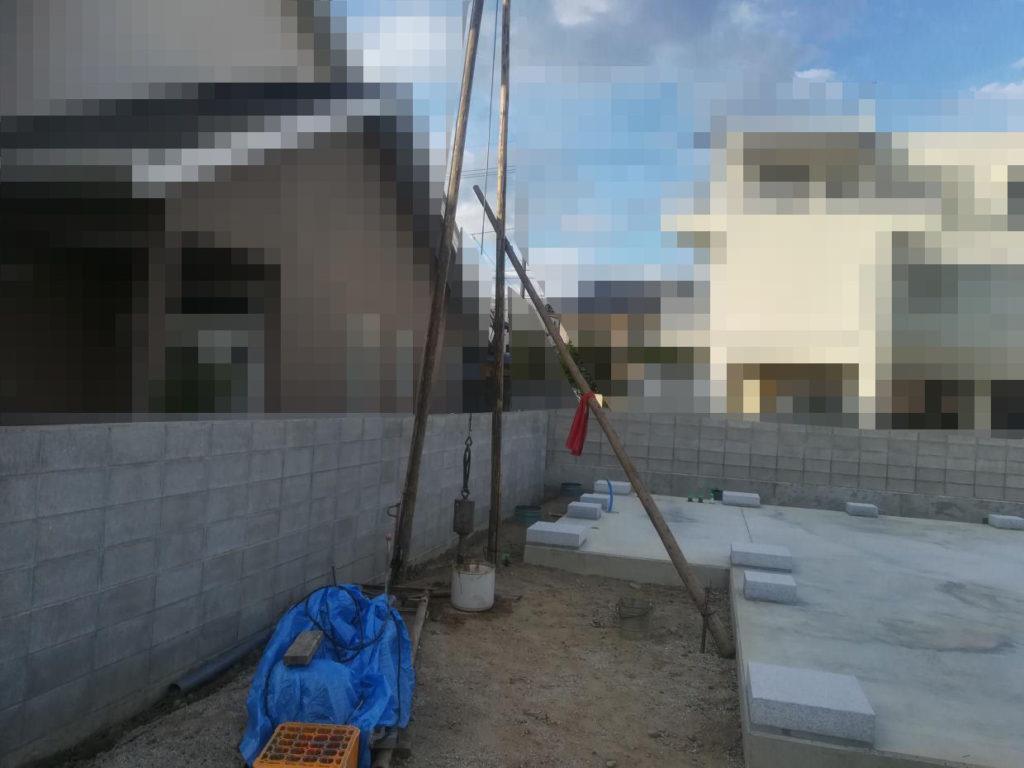 打抜き工事で水発見ならず・・・(松山市持田町)