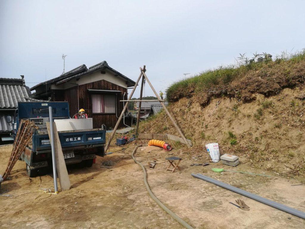 古井戸の洗浄と補強(今治市菊間町)