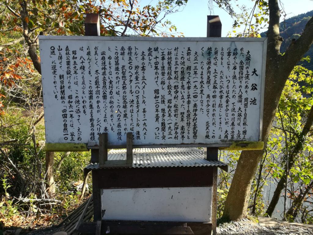 大谷池の案内板
