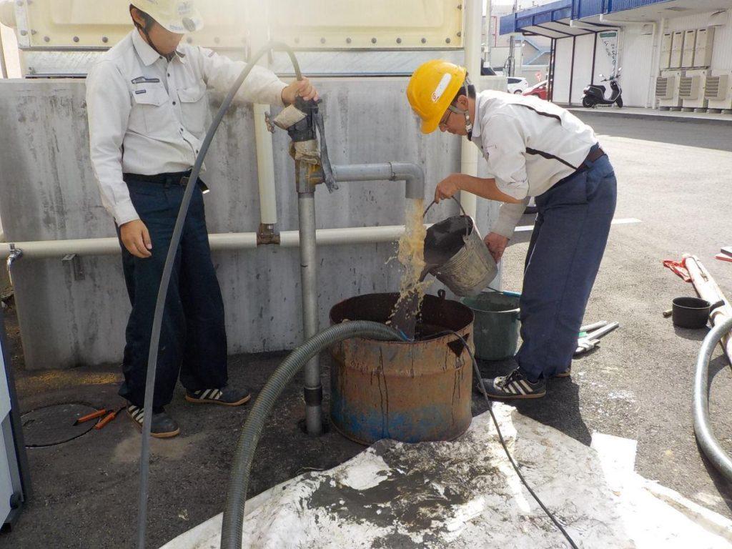 打抜き井戸 洗浄