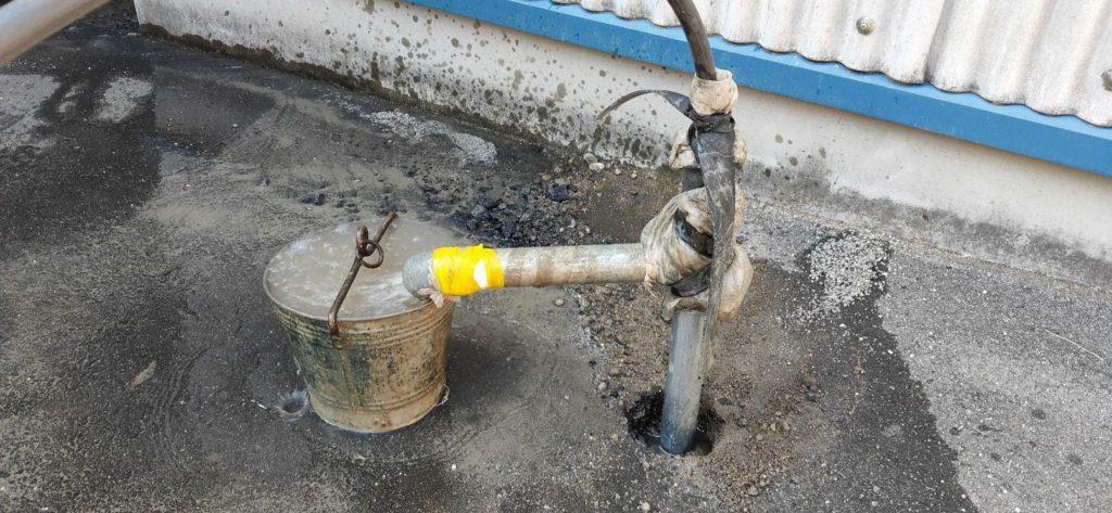 井戸洗浄で地下水を呼び込み