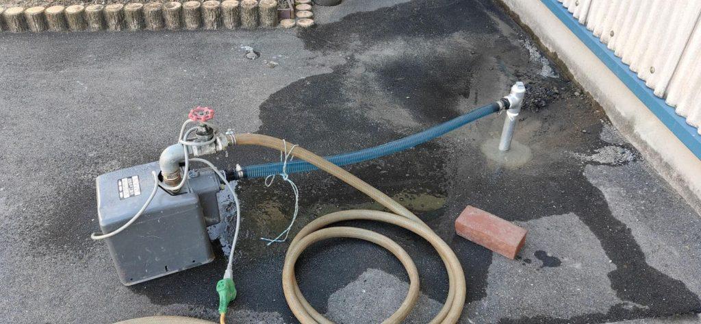 簡易水量調査のため仮設ポンプ設置
