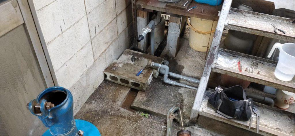 古井戸の簡易水量調査