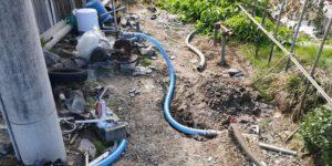 農事用ポンプ吐出し側ホースの水漏れ修理